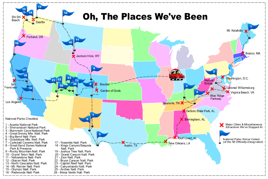 Journeys Through America Providing Children With A New - National parks in us map